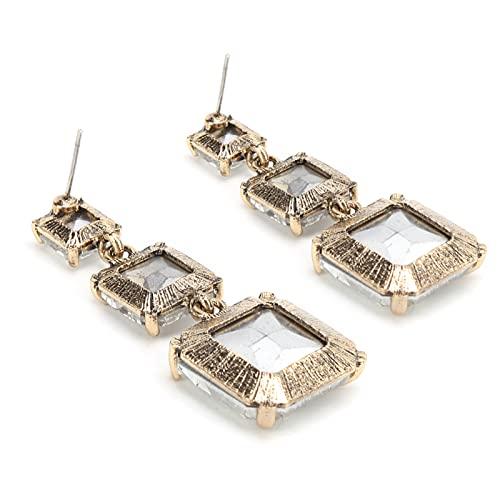 Fydun Pendiente Cuadrado, Accesorios geométricos de los Colgantes del oído de la aleación del Modelo para Las Mujeres de Las Muchachas(Blanco)