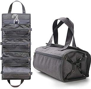 Neceser de Viaje Colgante para Hombre o Mujer - La Bolsa de Aseo Impermeable es un Organizador de Viaje 4 en 1 con Bolsos extraibles para maquillajes,cosméticos y Productos de baño.