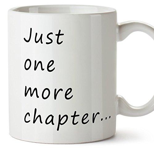 MUGFFINS Tazas de Desayuno Original para Regalar a lectores - Regalo para Amantes de la Lectura - Just One More Chapter. - Cerámica 350 ml