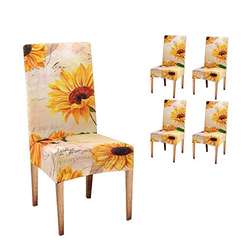 Anneunique CUXWEOT Chair Covers for Dining Room,Custom Vintage Watercolor Sunflowers Protector Comfort Soft Seat Covers Slipcovers for Party Decor (Set of 4)