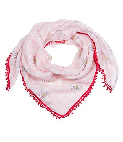 SIX Oktoberfest - rosa-weiß kariertes Tuch, Schal mit kleinen Edelweiß und roter mit Bommeln, Kostüm, Fasching, Karneval, Verkleidung (705-311)