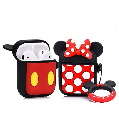 LEWOTE Silikon Niedliche Lustige Abdeckung Kompatibel mit Apple Airpods 1&2 [Zeichentrickserie] (Minnie / Mickey)