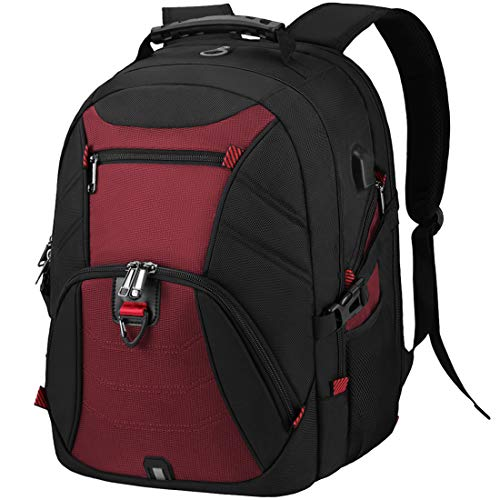Laptop Backpack 18.4 Inch Extra Large Travel 17.3 Inch School Rucksack with USB Charging Port Water Resistant Work College Computer Bag For Men Women Red