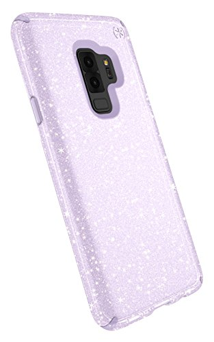 Speck Presidio Clear + Glitter Samsung Galaxy S9 Plus Case, Geode Purple with Gold Glitter/Geode Purple
