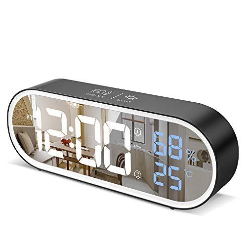 Reloj Despertador Digital con Pantalla LED de Temperatura/Humedad, Reloj Despertador Digital Despertador Dual con 13 Música,4 Niveles de Brillo,12/24 Horas,Función Snooze,Puerto de Carga USB (Negro)