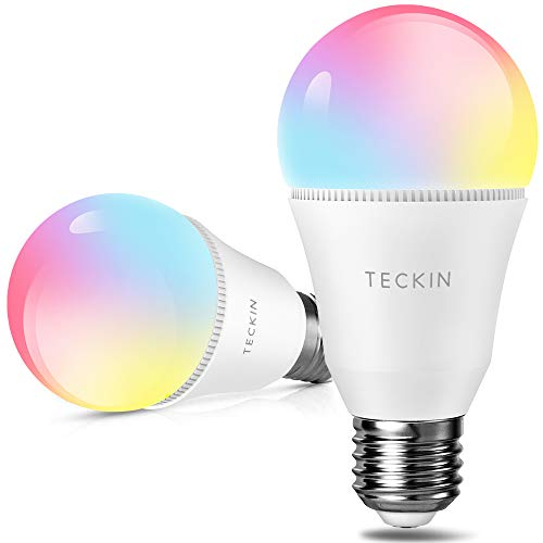 Smart Light Bulb Alexa LED Color Changing Light Bulbs,TECKIN A19 E27 60W 800LM Equivalent Compatible with Google Home,IFTTT,2800K-6000K Cold and Warm Light WiFi Blubs(7.5W),2pack