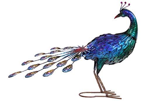 Hand Painted Metal Peacock– Garden Metal Statues – Bird Decorative Sculpture Ornament – Hand Painted Metal Garden Peacock Yard Art Statue– Indoor, Outdoor Chicken Animal Sculpture