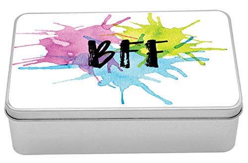 "Lunarable Best Friends Forever Metal Box, BFF Lettering on Watercolor Paint Drops Pink Green and Blue Tones, Multi-Purpose Rectangular Tin Box Container with Lid, 7.2"" X 4.7"" X 2.2"", Multicolor"