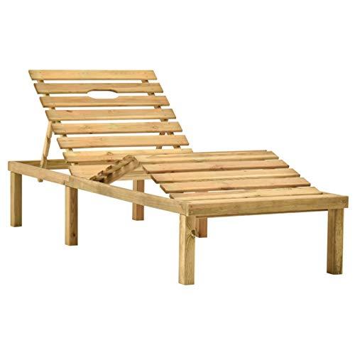 Sonnenliege Holz Gartenliege Liegestuhl Liege Outdoor Sonnenstuhl Strandliege Freizeitliege Relaxliege für Garten Balkon Terrasse Schwimmbad Kiefernholz Imprägniert