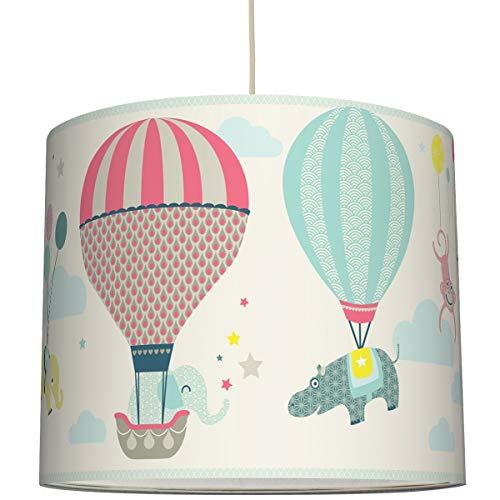 anna wand Hängelampe HOT AIR BALLOONS TAUPE/BLAU/KORALLE – Lampenschirm für Kinder/Baby Lampe mit Heißluftballons – Sanftes Kinderzimmer Licht Mädchen & Junge – ø 40 x 34 cm