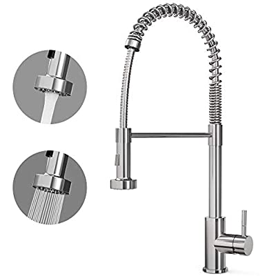 CORYSEL Kitchen Faucet Single Handle High Arc Brushed Nickel Single Lever Pull Down Sprayer Spring Kitchen Sink Faucet, Kitchen Sink Faucet with Deck Plate (2001C)