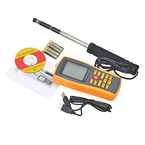 ZUZU Digital-Anemometer Handheld, Thermo-Thermokugel Digital-Anemometer Luftmengenmesser Windgeschwindigkeit Lufttemperatur