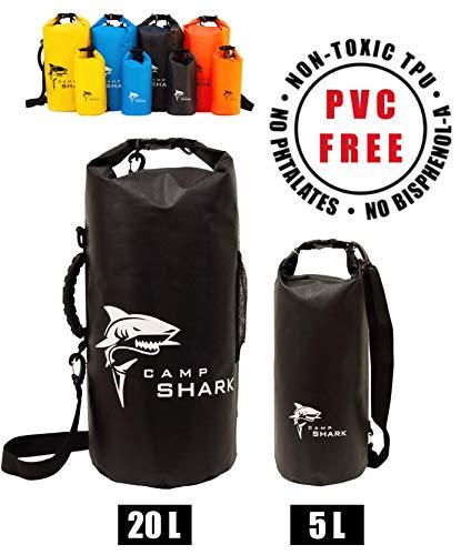 REVALCAMP Dry Bag 5L Schwarz- Nicht Krebserregendes PVC* - wasserdichte Tasche aus TPU - Kein übler Geruch, Bessere Elastizität and Längere Lebensdauer - Für den modernen Abenteurer entworfen