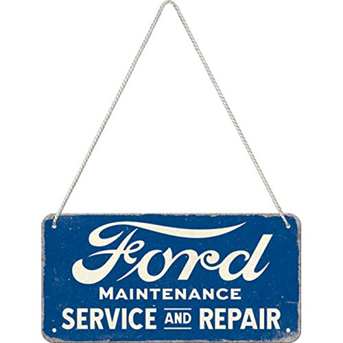 Nostalgic-Art Retro Hängeschild Ford – Service & Repair – Geschenk-Idee für Auto-Zubehör Fans, aus Metall, Vintage-Design zur Dekoration, 10 x 20 cm