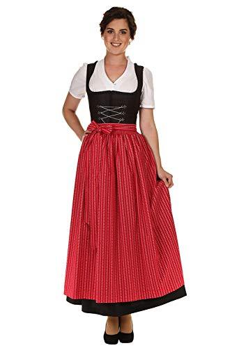 Hammerschmid Damen Dirndlschürze Baumwolle traditionell mit Blumenranke 1912600 Länge 89cm rot Gr.2=40-44