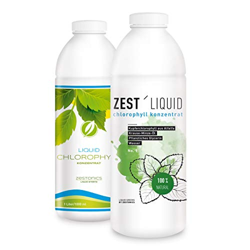 NEUE Verpackung: 1 Liter Liquid Chlorophyll aus Alfalfa mit Minzgeschmack ohne Konservierungsstoffe - Rohkostqualität - hochdosierter Monatsvorrat - Basisch - Flüssiges Chlorophyll - Konzentrat - Preis/Leistung: Spitze - ZEST'LIQUID - Made in Germany