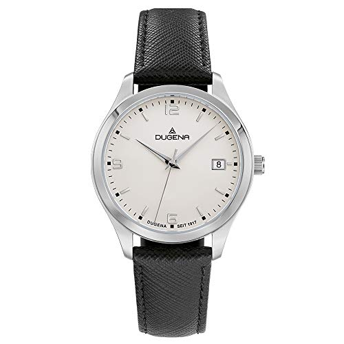 Dugena Damen Quarz-Armbanduhr, Saphirglas, Lederarmband, Tresor Woman, Schwarz/Silber, 4460864