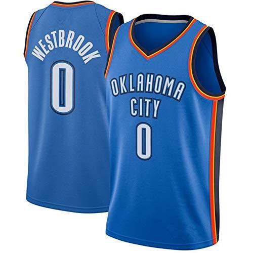 ATI-HSKJ Basketball-Trikots OKC Basketball Tops Uniform 0# Russell Westbrook Schnelltrocknende Ärmel Jersey Basketball Vest BH875,c,M: 170CM ~ 175CM