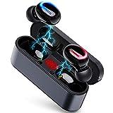 [2019最新版 Bluetooth5.0 イヤホン] Bluetooth イヤホン 120時間連続駆動 最新Bluetooth5.0+EDR搭載 Hi-Fi 高音質 完全ワイヤレス イヤホン 自動電源オン・オフ 自動ペアリング ブルートゥース イヤホン IPX5防水 AAC対応 左右分離型 充電ケース付き 片耳&両耳とも対応 iPhone/ipad/Android