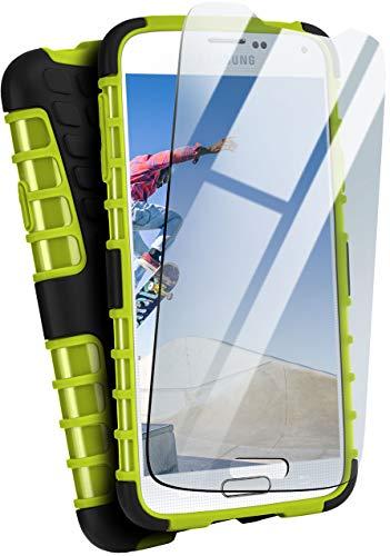 moex® Panzer-Schutz Set - Tank Hülle + Schutzglas passend für Samsung Galaxy S5 | Gehärtetes Glas + Extrem robuste Double-Layer Hülle, Grün Schwarz