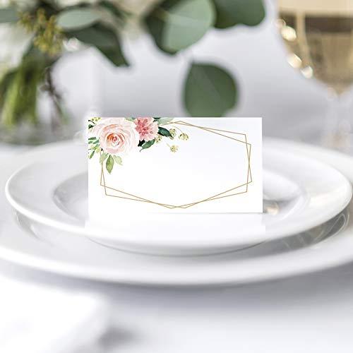 Tarjetas de lugar florales para bodas o fiestas, tarjetas de lugar para mesas, puntuadas para plegar fácilmente, colorete, coral y diseño de flores geométricas verdes, 2 x 3.5 pulgadas, 50 unidades
