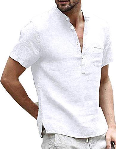 White Linen Shirt Men Henley Shirts Summer Short Sleeve T Shirt Banded Collar Casual Beach Tops