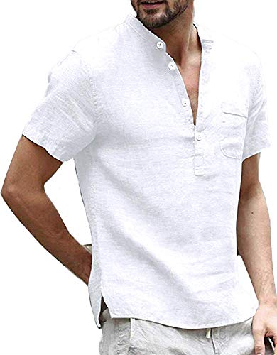 Enjoybuy Mens Linen Henley Shirts Summer Short Sleeve T Shirt Banded Collar Casual Beach Tops White