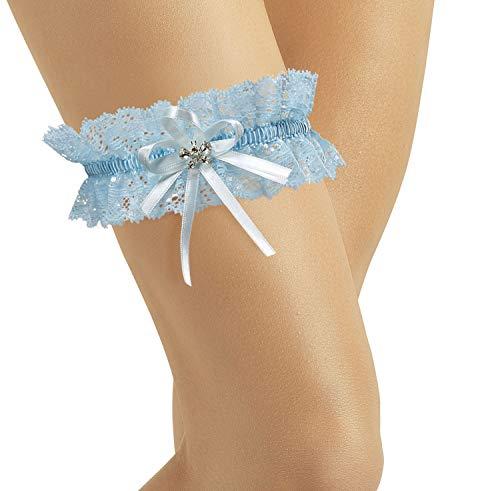 BrautChic Elastisches Brautstrumpfband - Must Have zur Hochzeit - Mit funkelnden Kristallen in Schmetterlingsform - Brautkleid Brautaccessoires - BLAU