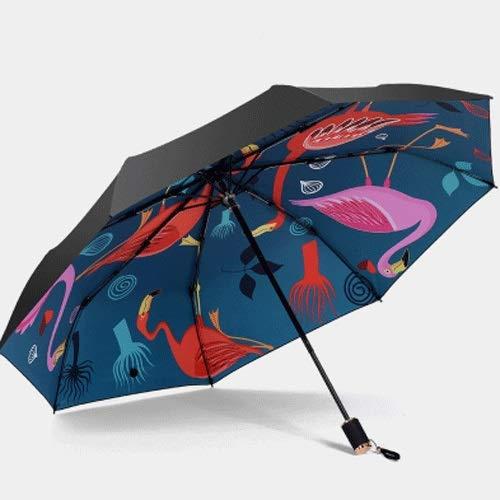 Xfhwyp Folding Regenschirm Reise UV-Schutz Windsicher Regenschutz Sonnenschirm-Regenschirm Schwarz Anti-UV-Lack UV-Schutz beweglicher Sonnenschutz UV-Schutz Großschirme