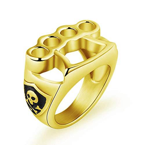 Valily mannen dumbell fitness ring goud/zilver kleur roestvrij staal punk schedel ring voor man vrouwen vintage hiphop joyas de anillo