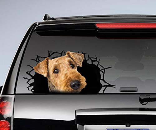 Airedale Terrier 3D Sticker, Cracked Window Decal Vinyl Sticker for Cars, Windows, Walls, Fridge, Toilet and More - 15 Inch
