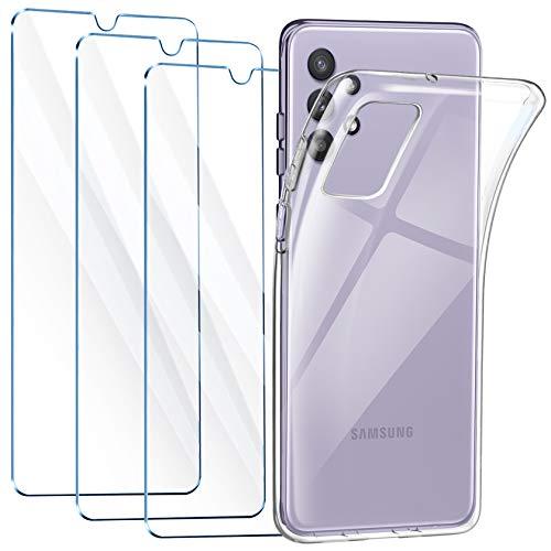 Leathlux Cover Compatibile con Samsung Galaxy A32 4G con 3 Pellicola Vetro Temperato, Morbido Silicone Protettivo Bumper TPU Gel Smartphone Custodia Case - Trasparente
