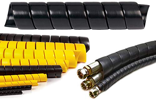 Electriduct 1/2 Inch Heavy Duty Spiral Wrap HDPE Flexible Plastic Cable Sleeve Hose Protector - 100 Feet - Black