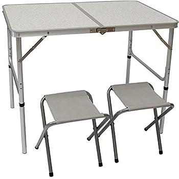 AMANKA Table de Camping Pliable réglable en Hauteur 90x60x70cm INCL 2 Tabourets pliants Format Mallette Gris Clair