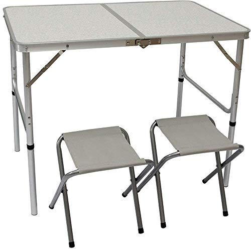 AMANKA Alu Campingtisch Set mit 2 Stühlen - 90x60cm Klapptisch - 2-Fach höhenverstellbarer Falttisch Grau