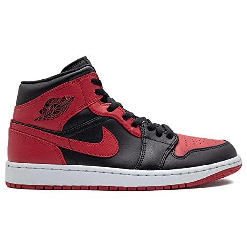 Nike Męskie Air Jordan 1 środkowy zakazany - 554724 074 - czarny czerwony biały, - Wielokolorowy - 42.5 EU