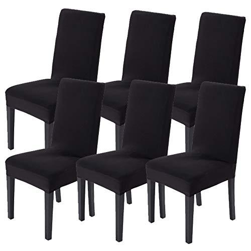 Littleprins Stuhlhussen 6er Set Stuhlbezug elastische Hussen für Stühle Schwingstühle Stretch Stuhlüberzug für Esszimmer Stuhl Hochzeit Partys Bankett (Schwarz)