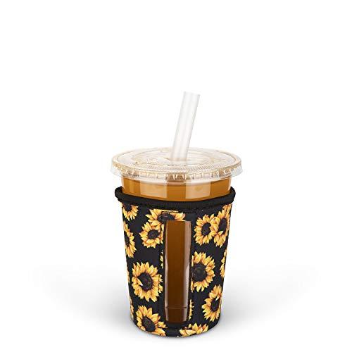 MEETI Wiederverwendbare Isolierhülle für Eiskaffeetassen, kalte Getränke, Neopren-Becherhalter, kompatibel mit Starbucks, McDonald's Kaffee, Dunkin Donuts, Tim Hortons und mehr, klein, mehrfarbig 2