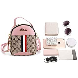 Van Caro PU Leather Crossbody Bag Cell Phone Pouch Wallet Purse Shoulder Bag Travel Packs for Women Girls, Pink