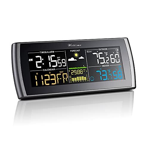 Wittime 2101 Termómetro inalámbrico para interior y exterior de estación meteorológica, pantalla a color HD Termómetro meteorológico digital con barómetro, monitor de temperatura y humedad exterior con reloj meteorológico