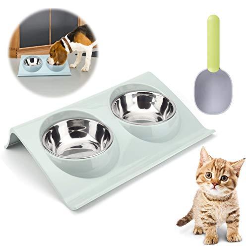 QIMMU Doppelter Futternapf Katzen,Katzennäpfe Erhöht Neigbar,Haustier Fressnapf,Katzennäpf Edelstahl rutschfest für Tiernahrung und Wasserzufuhr mit 1 Futterschaufel für Haustiere(Blau)