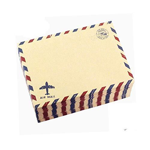 Kaptin 50 Stück AirMail Vintage Style Umschläge, Kraftpapier Brief Einladung Postkarte Umschläge (Braun)