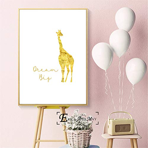 N / A Stampe Decorative su Tela Giraffa Big Dream Little One Poster e Stampe Arte murale Immagine Decorativa Pittura su Tela per Camera dei Bambini Decorazioni per la casa Senza cornice-60x80cm