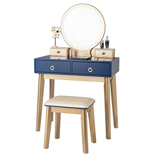 Modern Style Vanity Table Dress Makeup Desk Round Mirror with LED Light Modes Touch Screen 4 Drawers and Stool, Solid Wood Legs Navy Blue