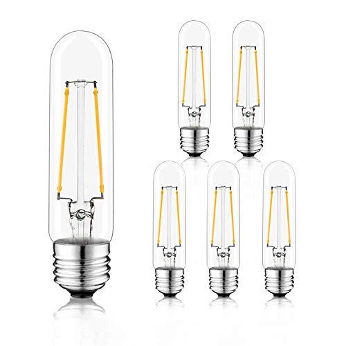 Novelux T10 Led Bulb, 6 Pack Tubular Light Bulb 5 Inch, Dimmable Vintage Edison T10 Light Bulbs 4W, E26 Medium Base Led Bulb UL Listed (Warm White 2700K, Pack of 6)