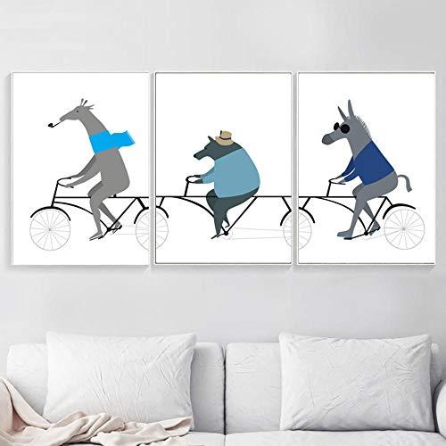 hdbklhjxk prints foto's muurkunst cartoon dieren beer paarden hert fietsen Nordic poster schilderij doek meisje jongen kamer wooncultuur 40x60cmx3 niet-ingelijst