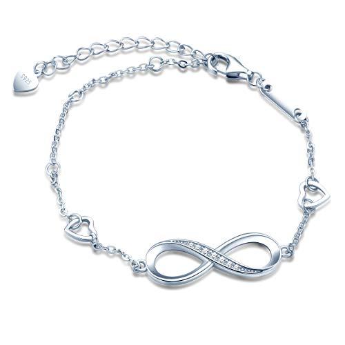 Pulseras de plata 925 para mujer y niña, pulsera con símbolo de infinito, pulsera de...