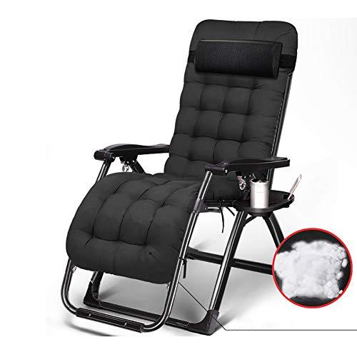 CurDecor Verstellbar Tragbare Liegestuhl Mit Gepolstert Sitzer,Schwerelosigkeit Relaxstuhl Klappbar,Liege Klappstuhl Außen Terrasse Schwarz