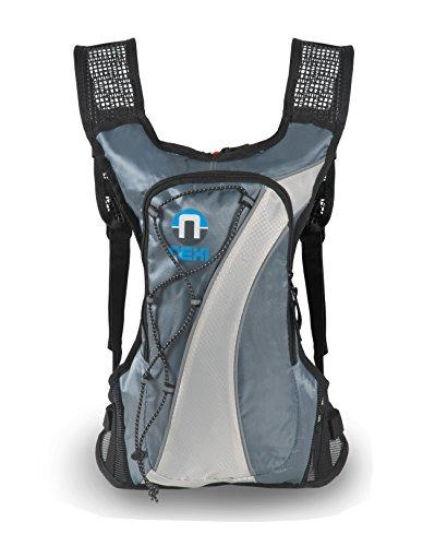 Nexi Fahrradrucksack Sport Rucksack Damen und Herren - ideal für Radfahren, Jogging, Running, Klettern - wasserdicht - 2 Liter, Silber/grau
