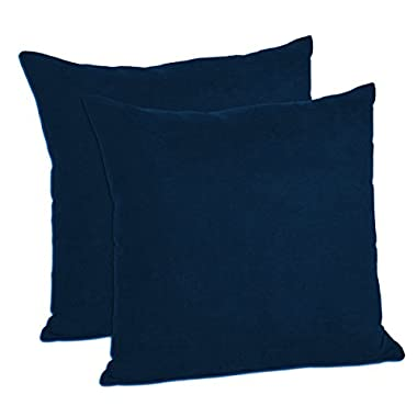 MoonRest - Pack of 2- Micro-Suede Decorative Throw Pillow Case - Faux Suede Cushion Cover (20 x20 , Navy)